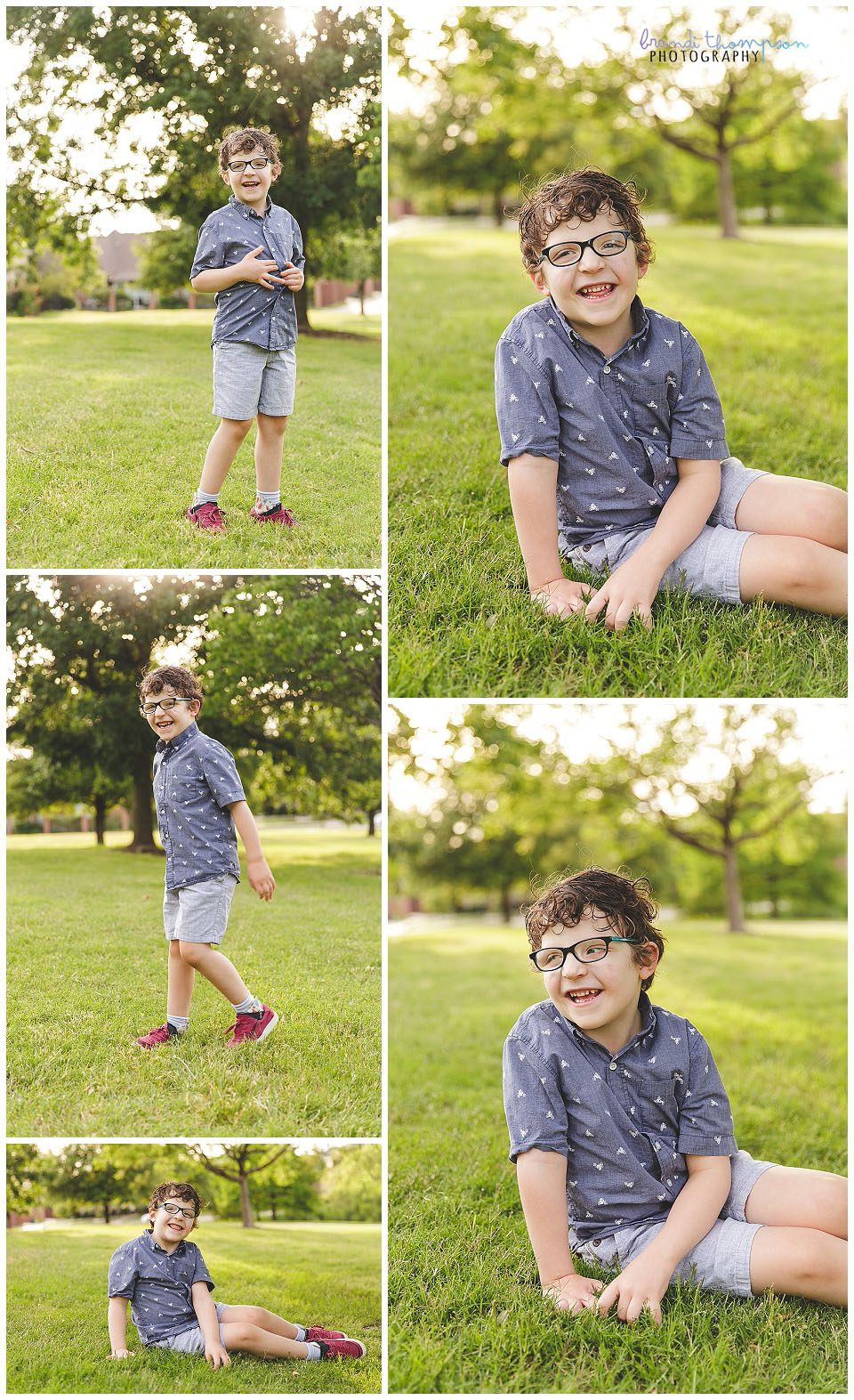 seven year old boy portraits in plano, tx - boy in blue shirt, tan shorts and glasses with red shoes