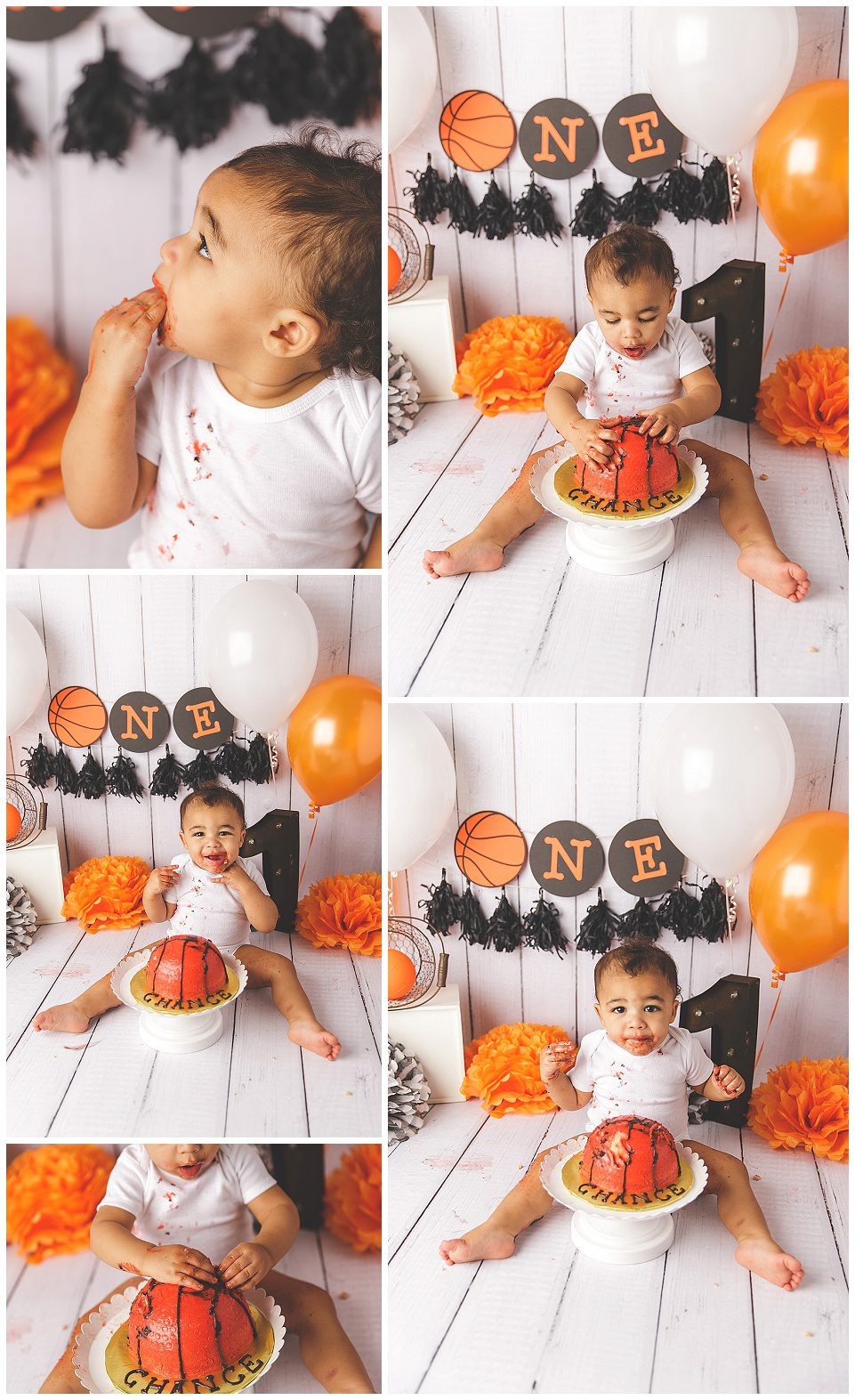 white, black and orange basketball themed cake smashe for one year old boy, wearing a white onesie