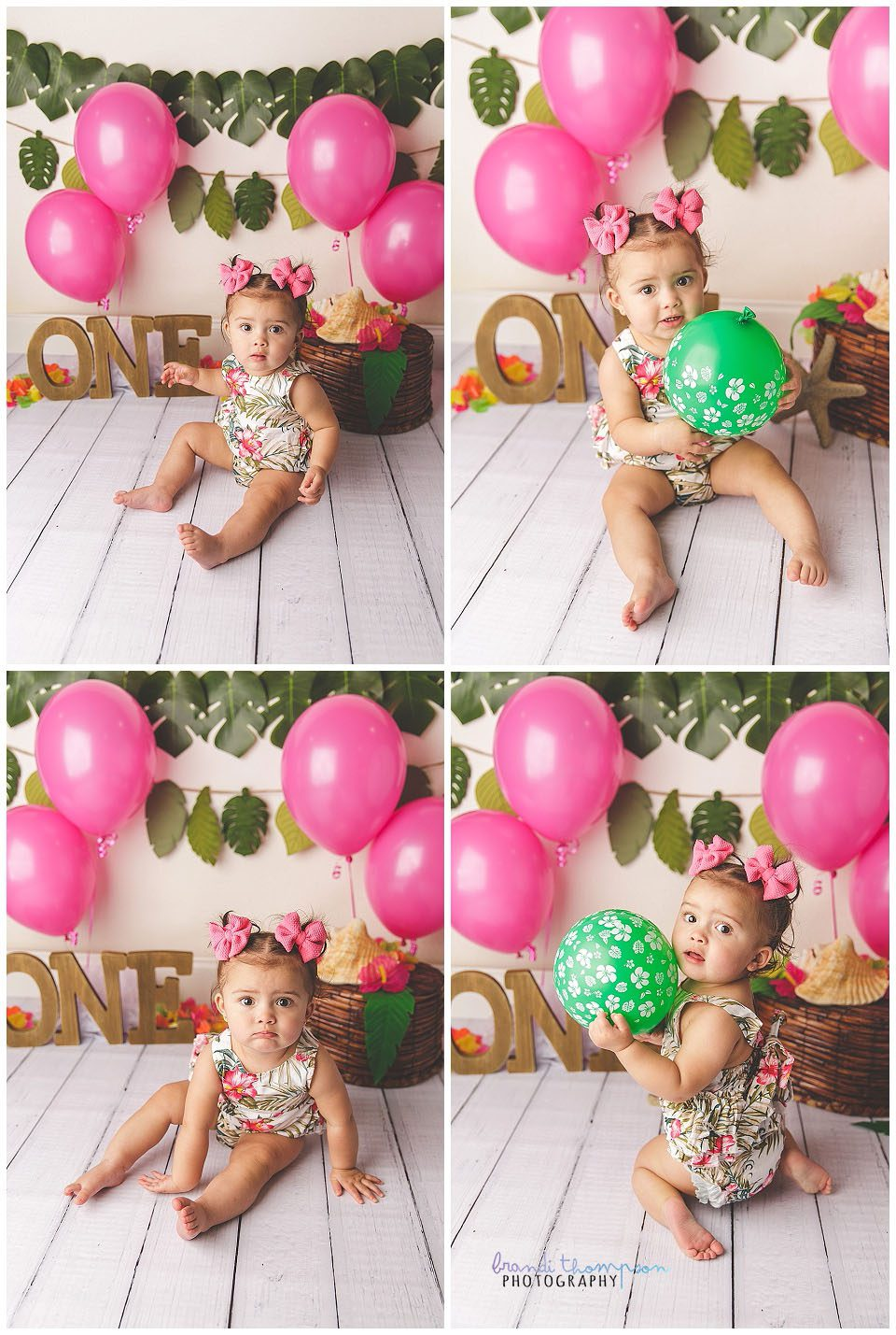 tropical themed green and pink cake smash with one year old baby girl
