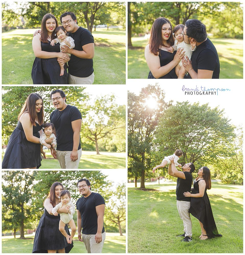 outdoor family photos with mom, dad, and baby girl in green area with sunshine, plano, tx