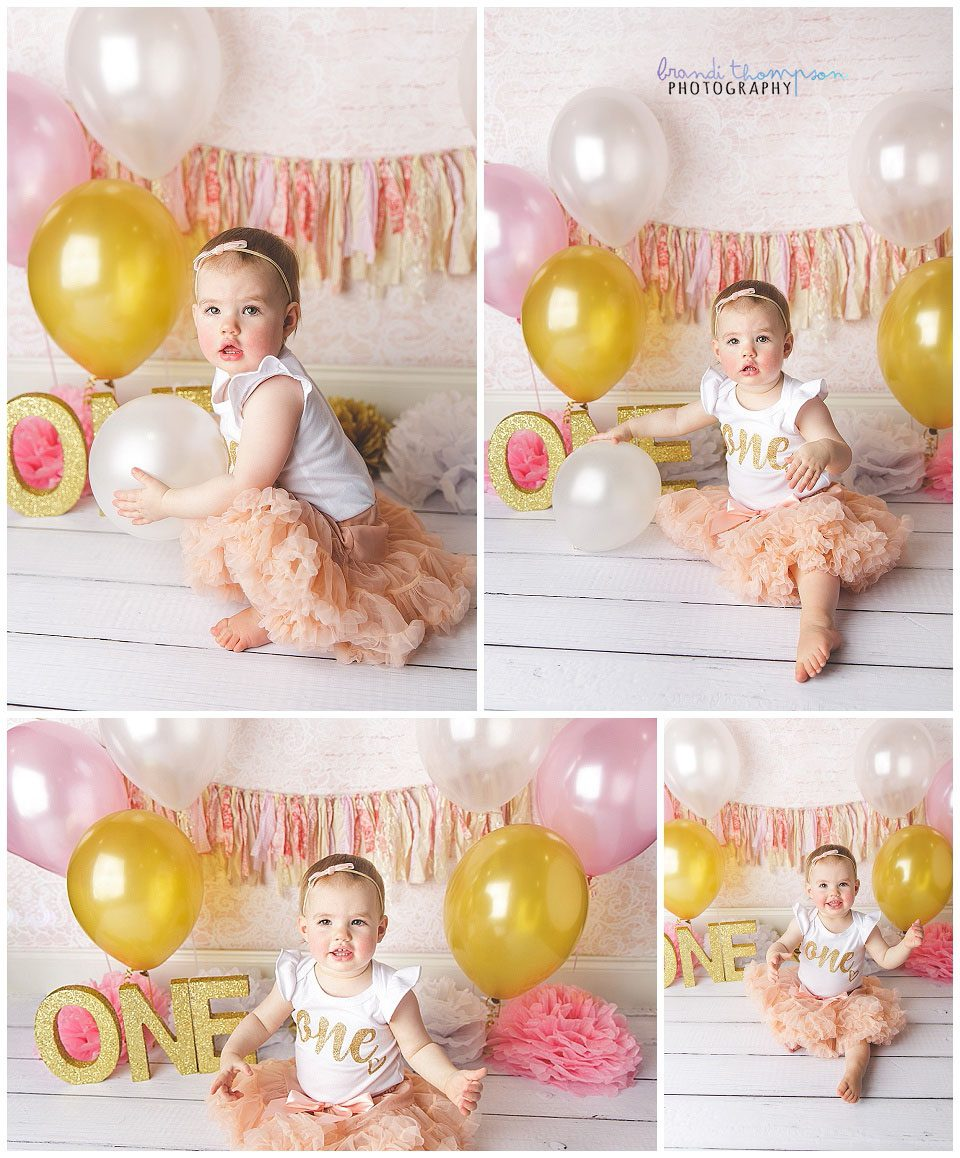 pink and gold first birthday session in plano, tx