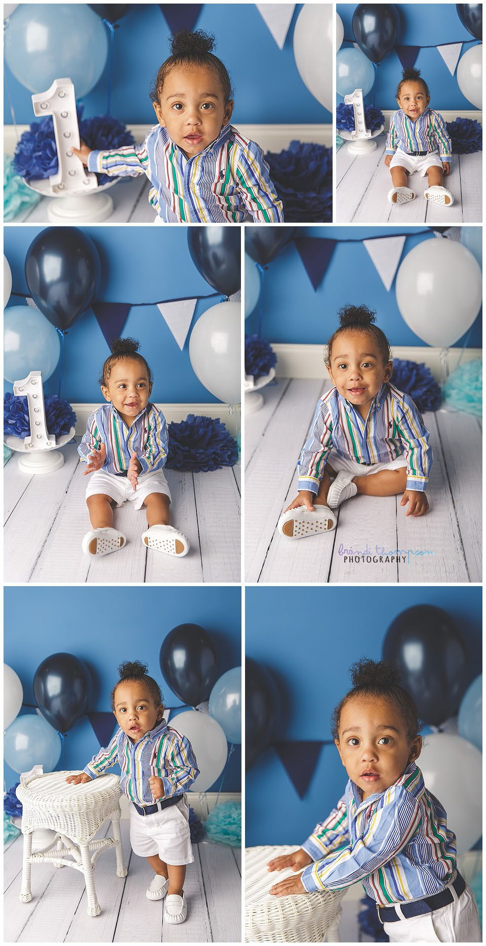 One year old Black baby boy in blue striped shirt, white shorts, with a blue and white birthday background, plano tx