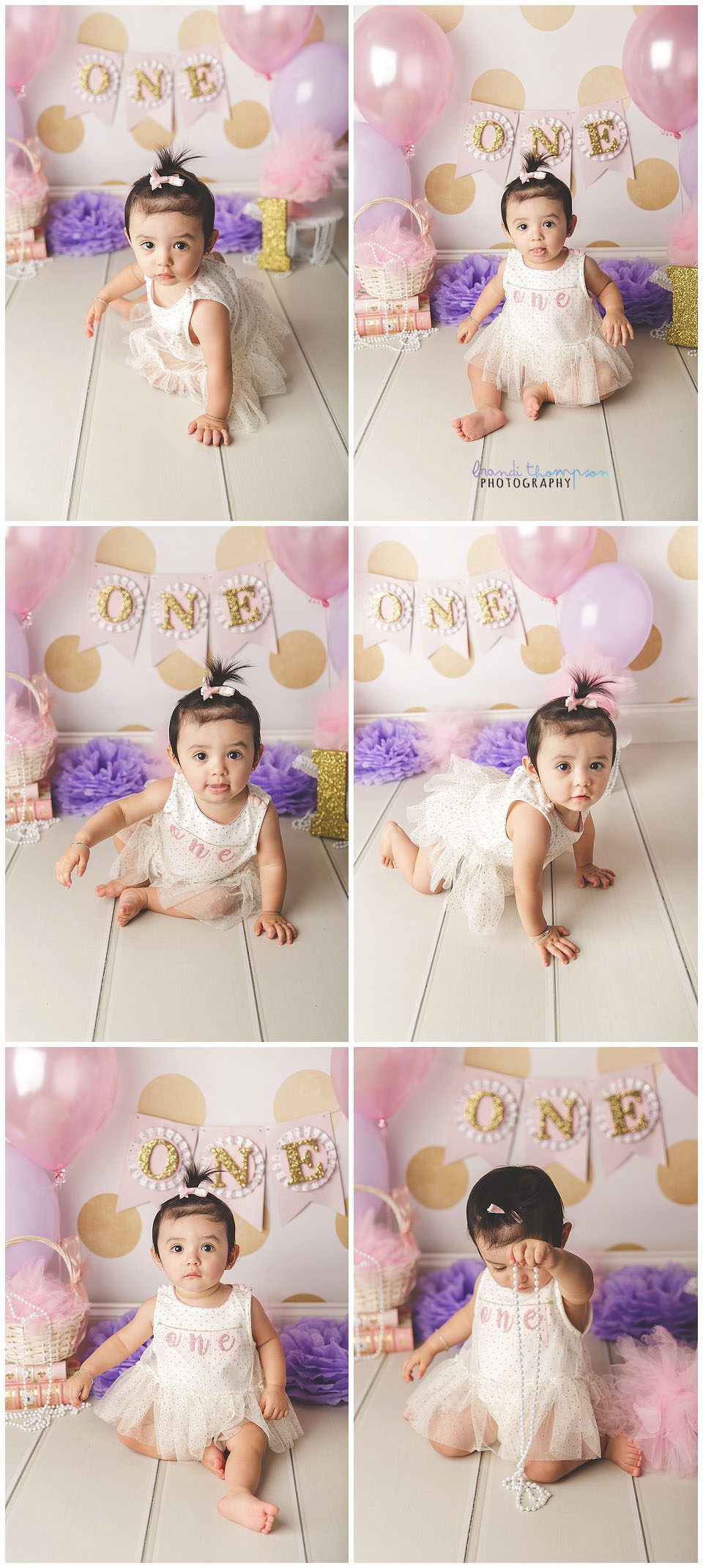 one year old girl photo session with pink, purple, gold and white plano tx