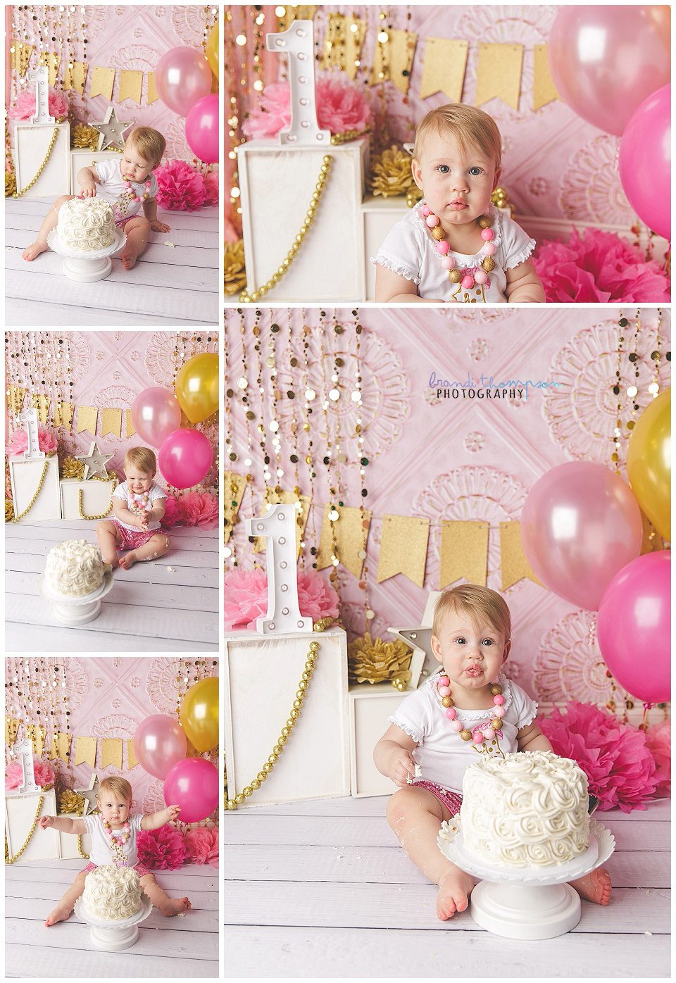 studio cake smash for one year old baby girl in a pink, gold and white set, in plano, tx