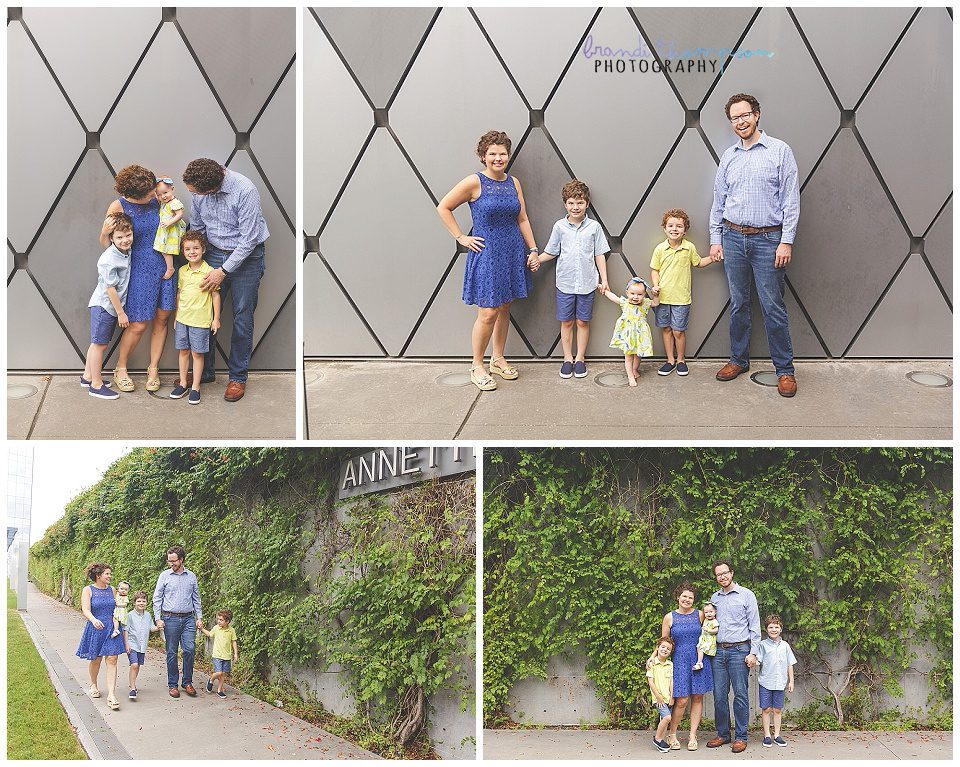 Outdoor family photos in downtown dallas with family of five, two parents and three kids