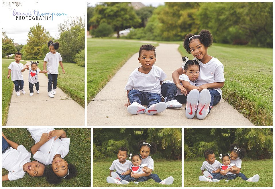 outdoor family photos with three siblings, two girls and a boy, plano, tx