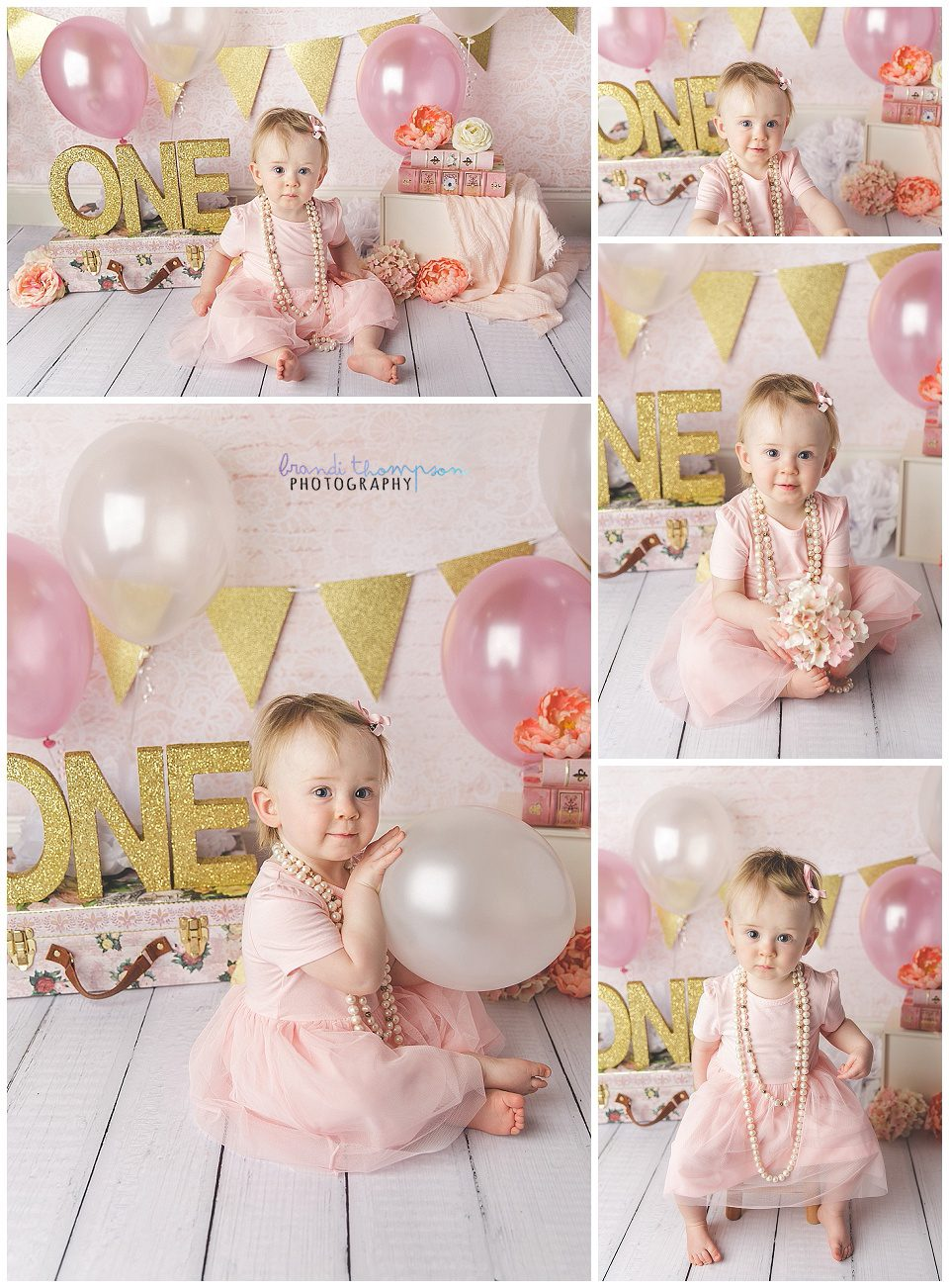 baby girl with first birthday cake smash in a pink and gold studio