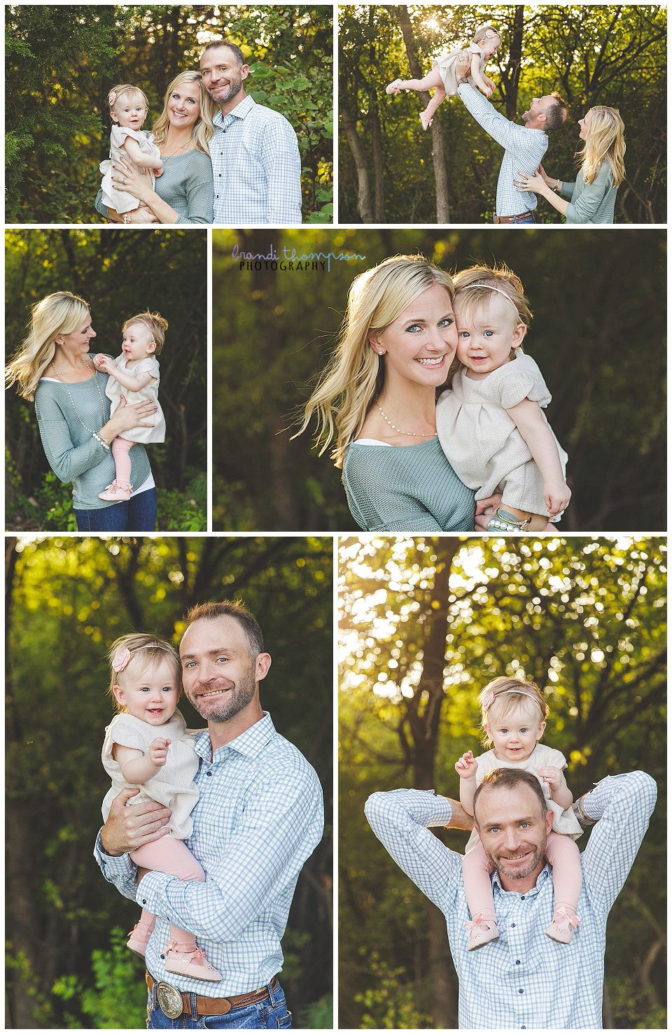 outdoor family photos with mom, dad, and baby girl in Plano, tx