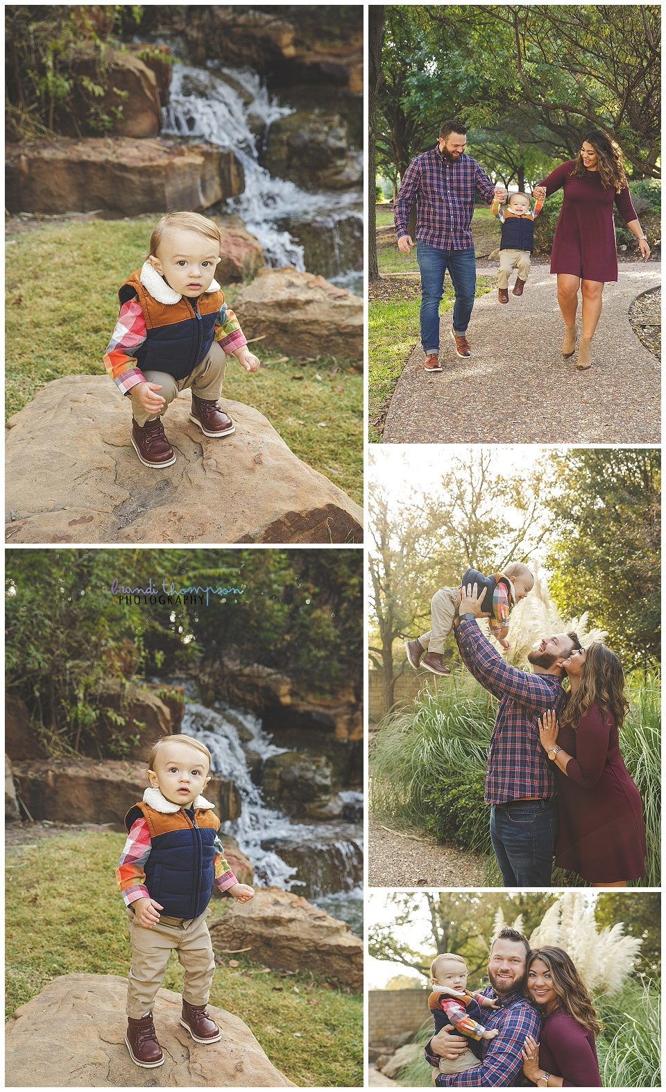 outdoor family photos in frisco park with mom, dad and one year old boy