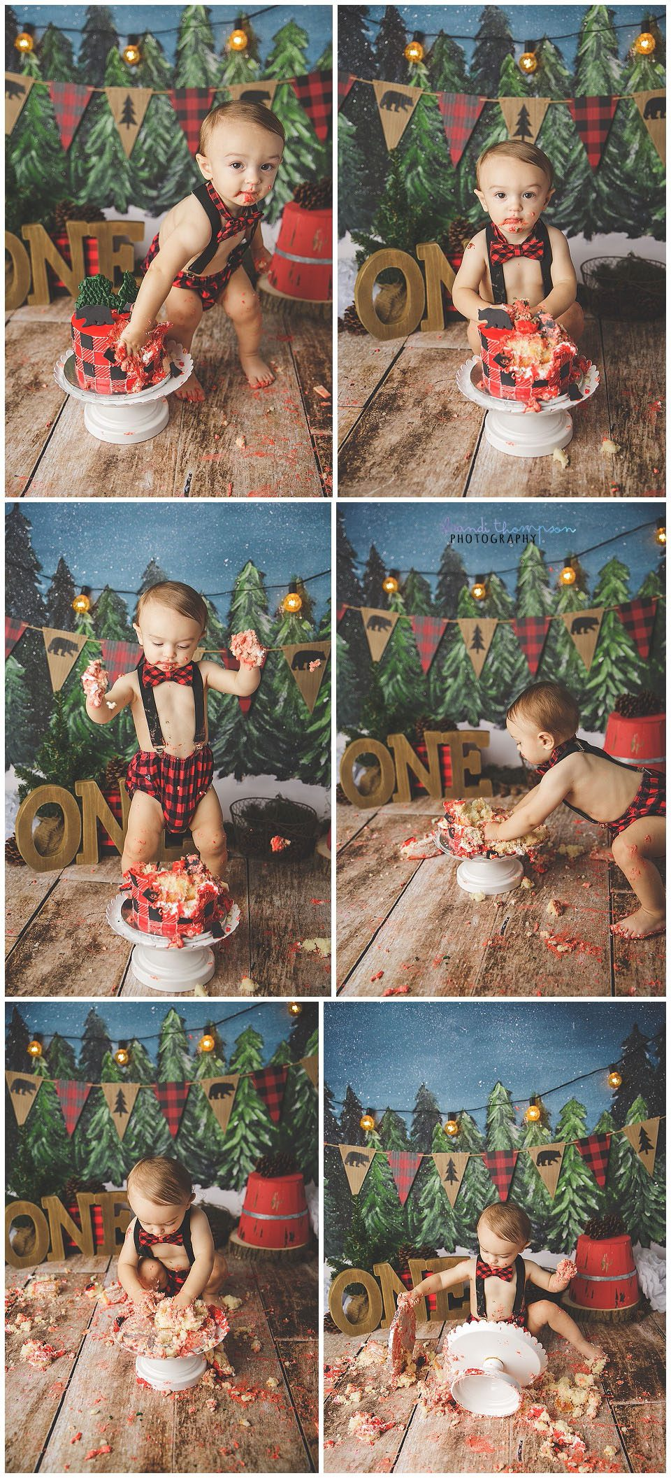 lumber jack buffalo plaid outdoor inspired cake smash with one year old boy in plano, tx