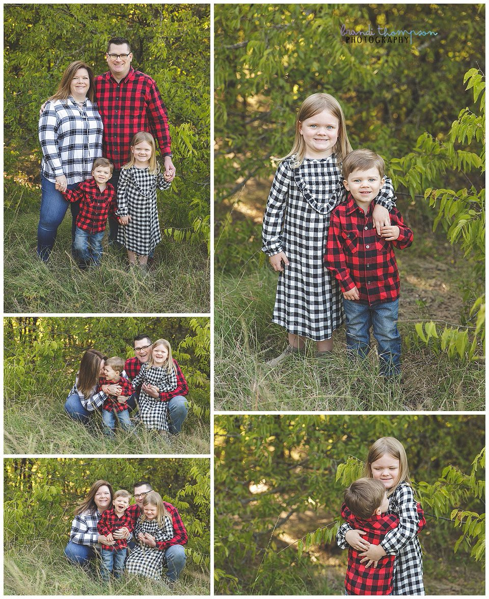 outdoor fall family photos in plano tx, with a dad, mom, daughter and son, wearing plaid shirts