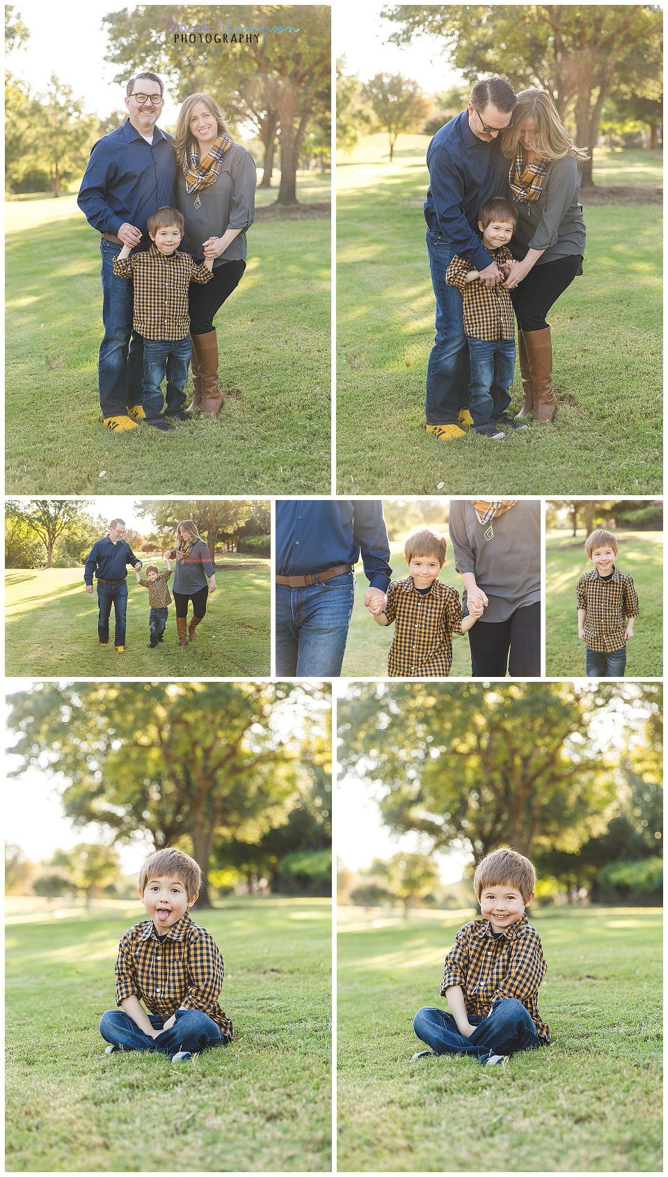 outdoor family session in natural area in Plano, tx with dad, mom and  young son