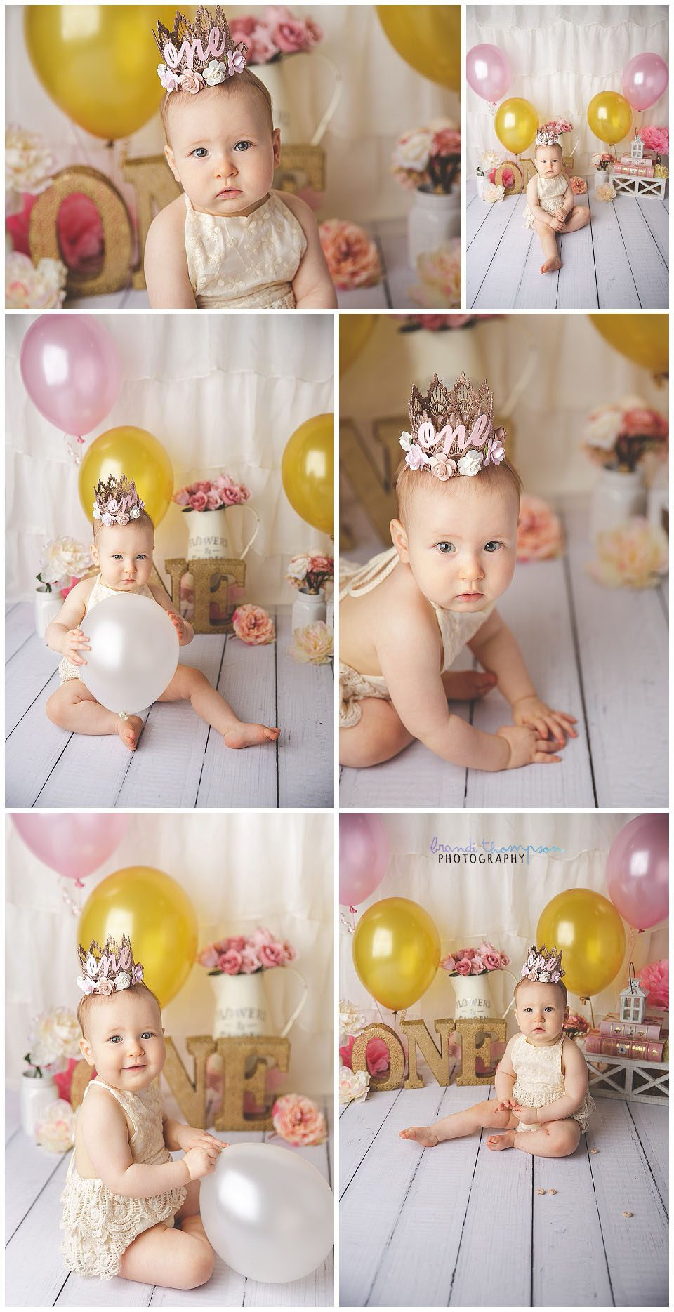 pink and gold cake smash theme with one year old baby girl in plano studio