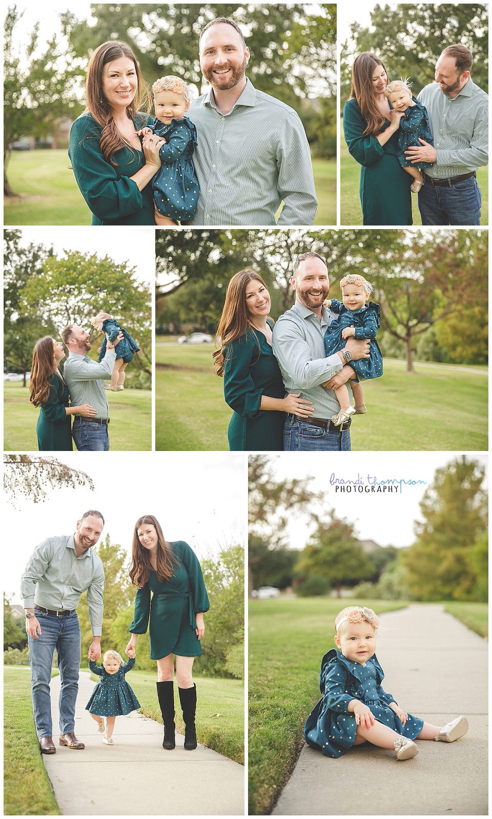 outdoor family photos in green area in plano tx with mom, dad and one year old baby girl