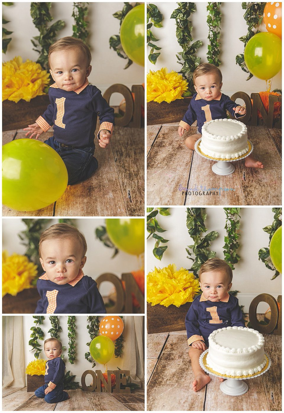 One year old boy cake smash in plano, tx studio - he wears a navy onesie with a 1 on it, and blue jeans. He eats a white cake.