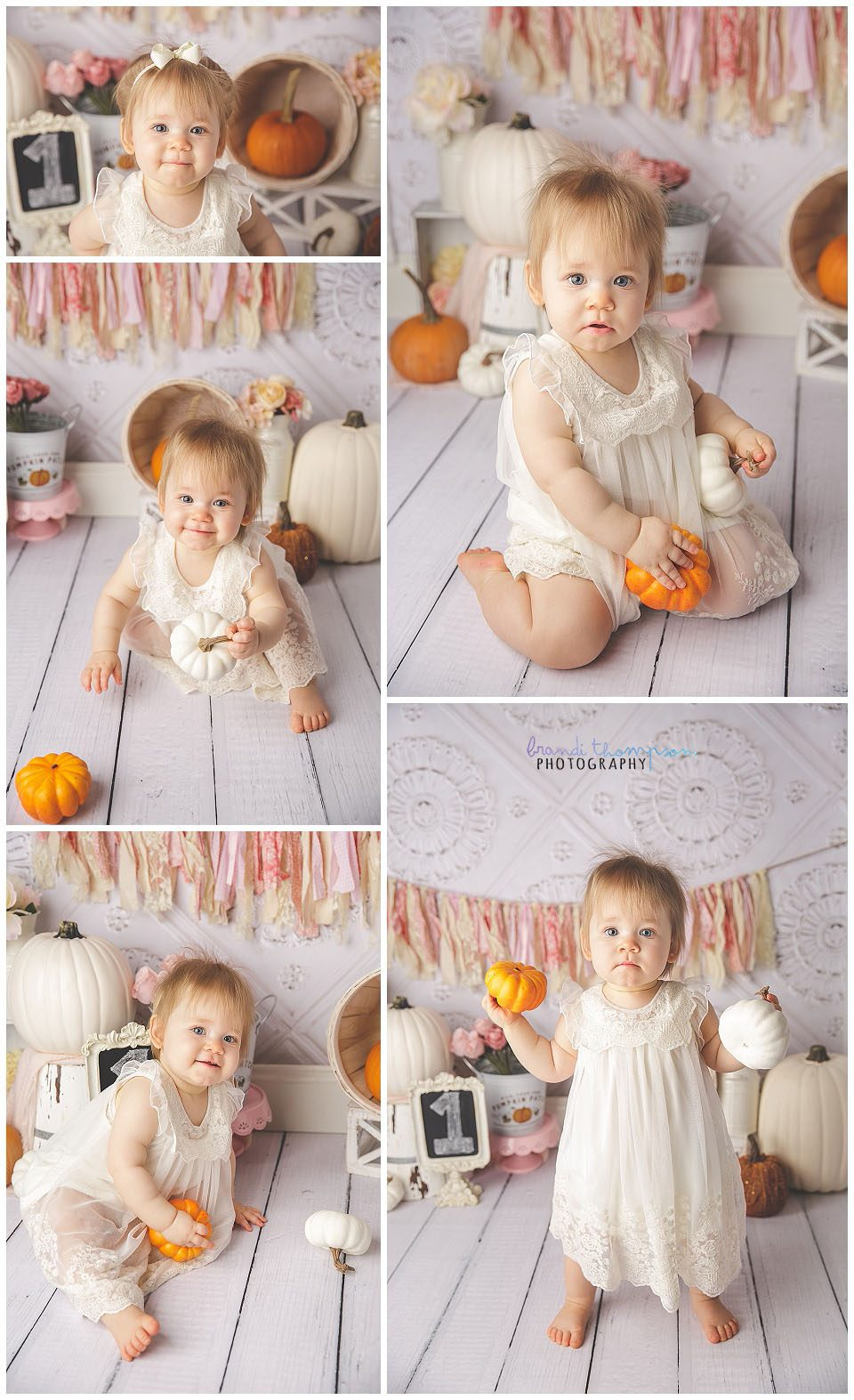 white, pink and orange pumpkin themed cake smash set with one year old baby girl in plano, tx