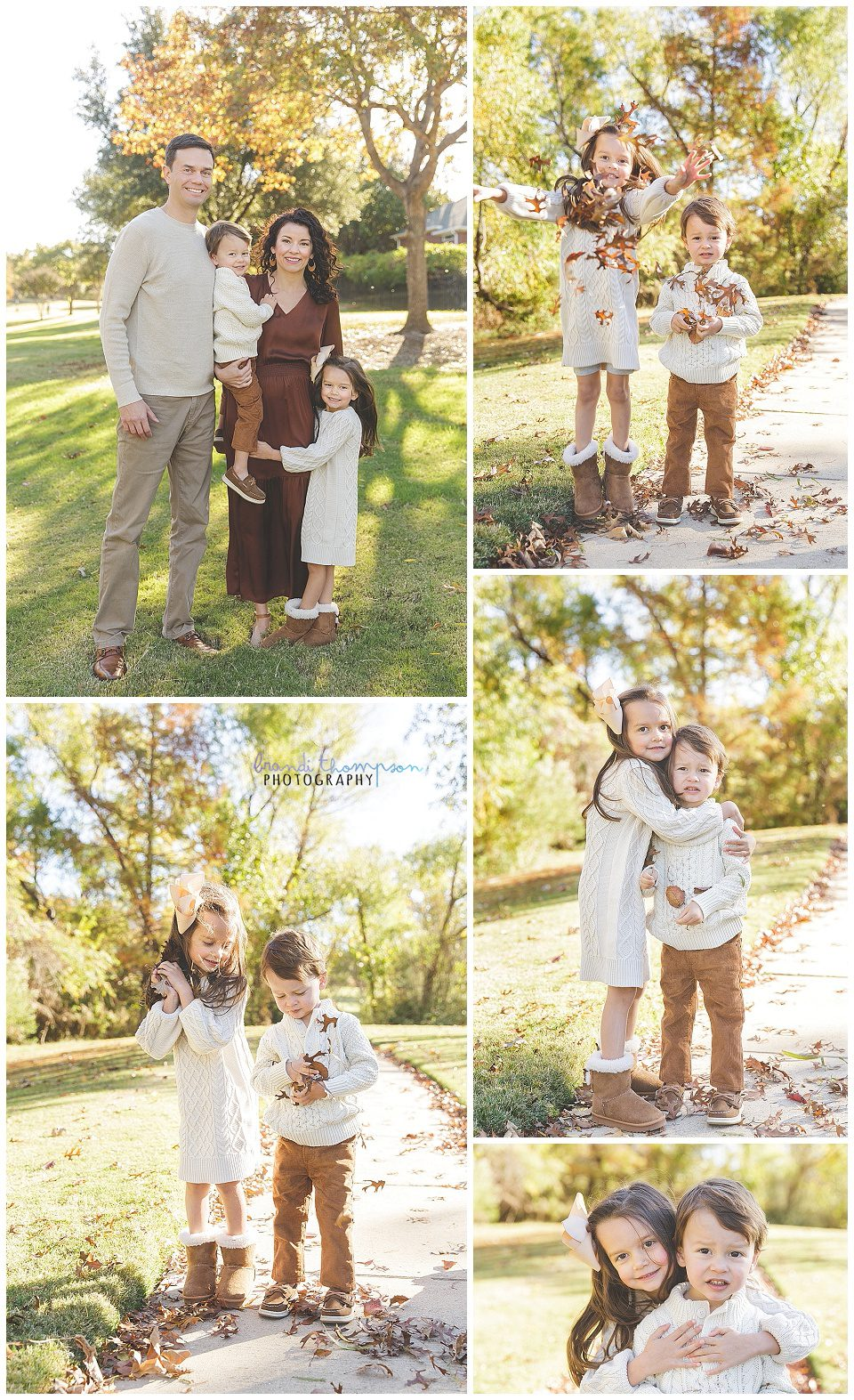 outdoor family photos with a family of four, man, woman, daughter and son, plano tx