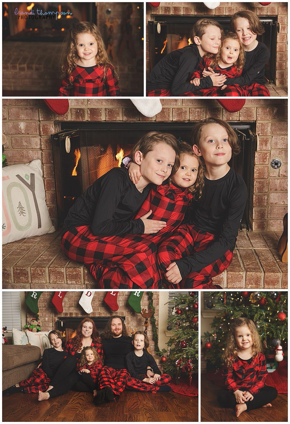 christmas pajama session in home with mom, dad, twin boys and preschool girl