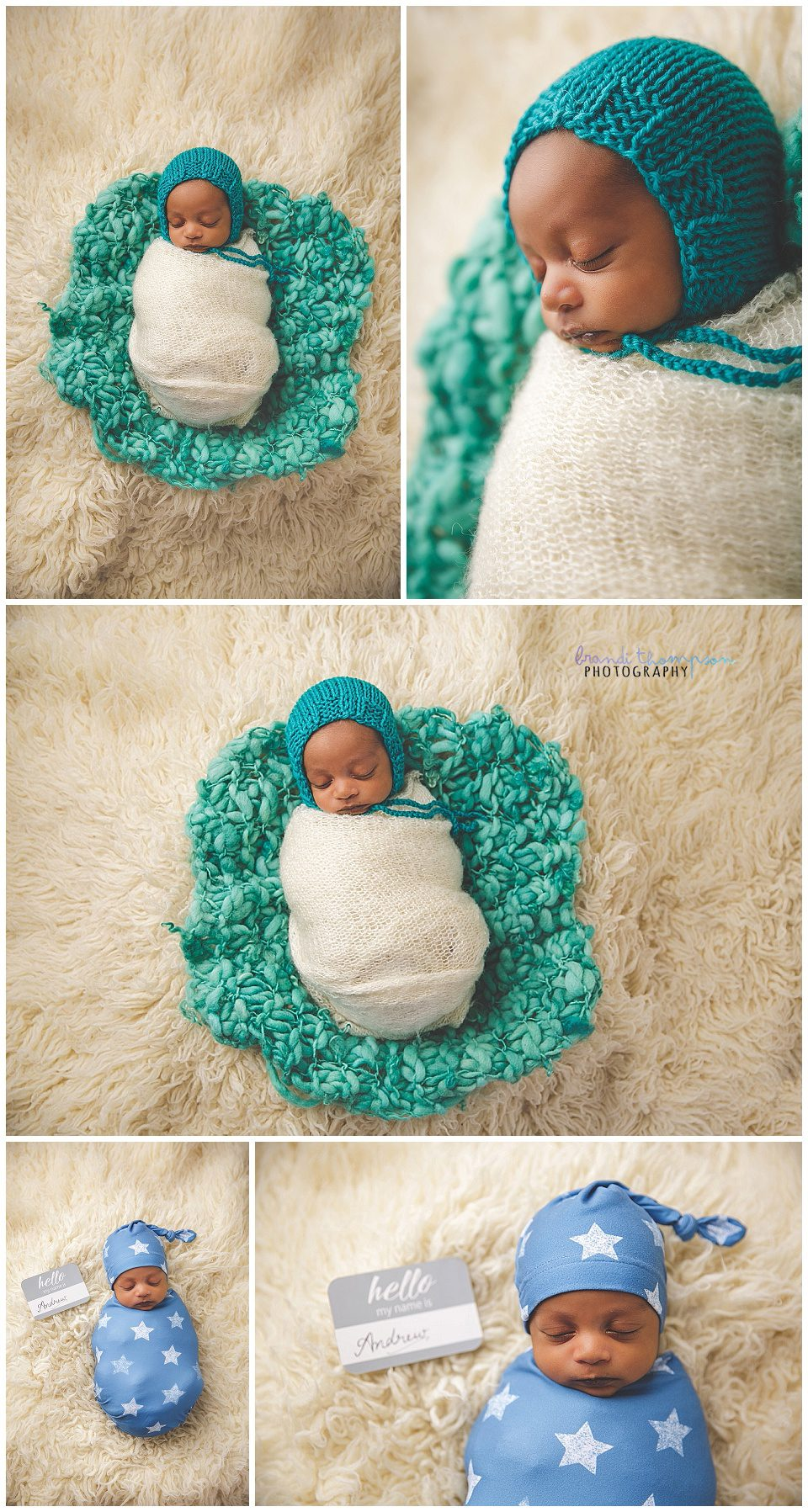 newborn baby on cream rug in teal and white, and blue with stars
