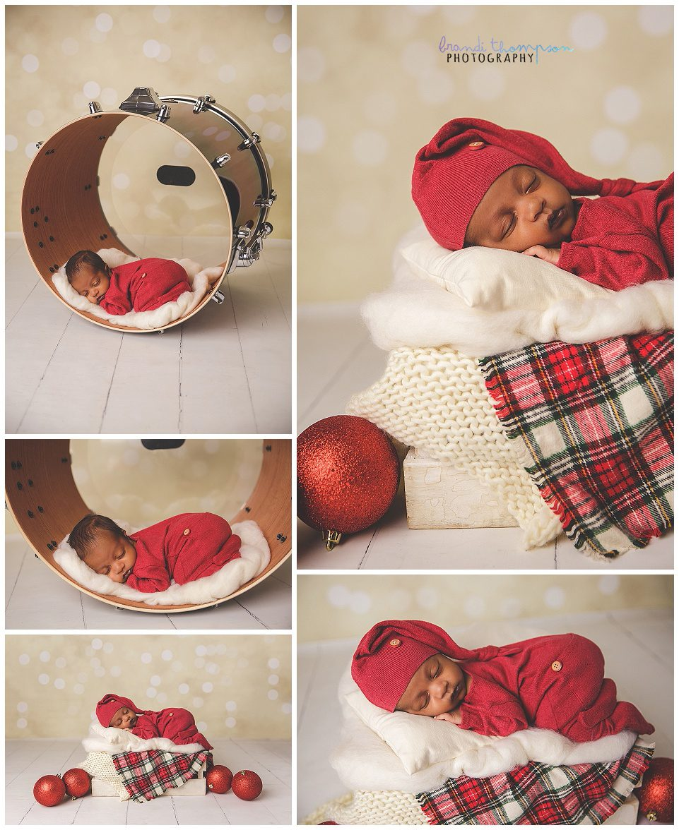 newborn baby in drum, newborn baby in red and white holiday themed set