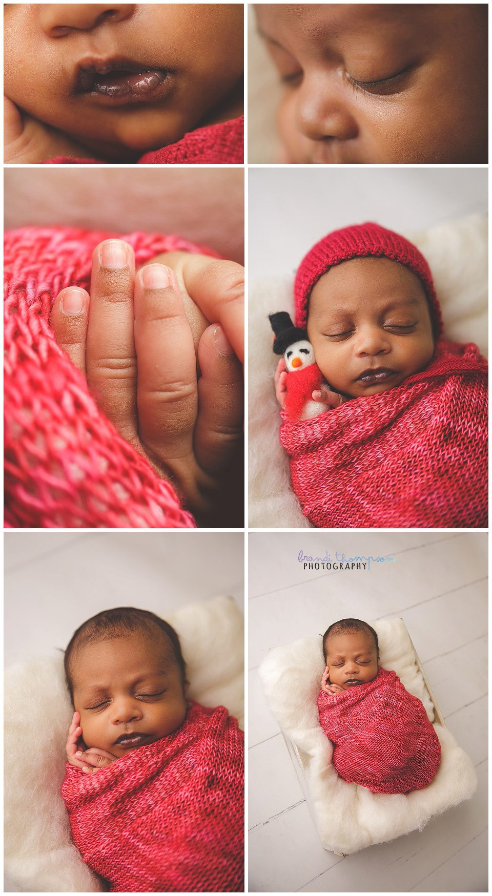 close up of newborn baby and baby in red wrap and hat