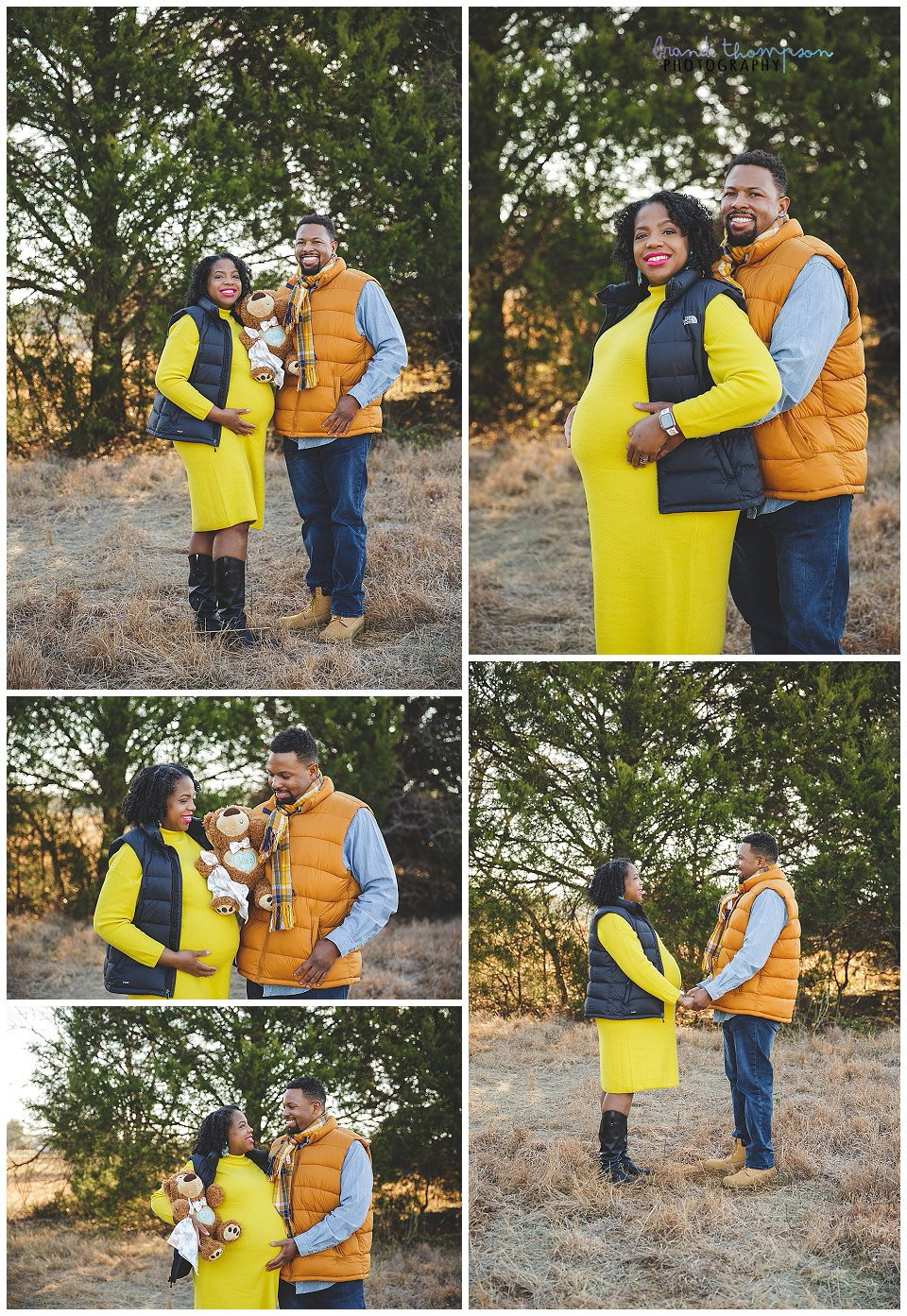 outdoor maternity photos with a Black couple wear tones of yellow, blue and orange.