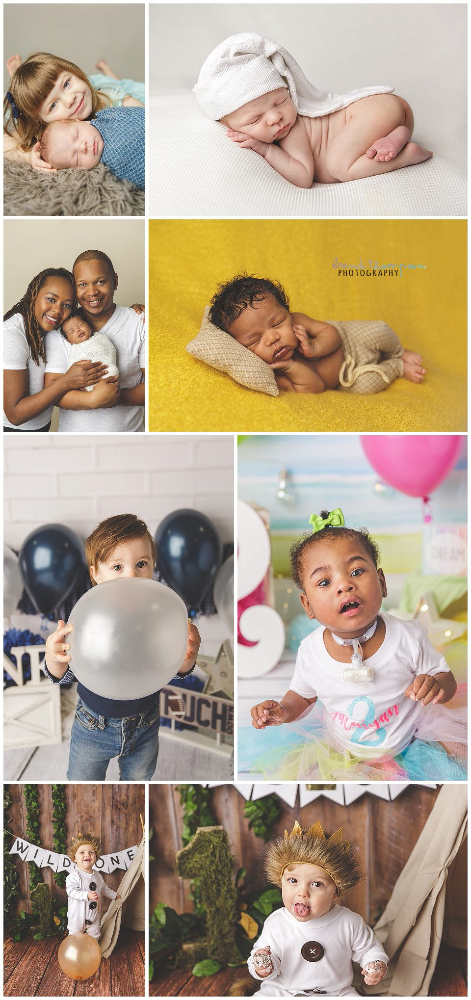 A collage of newborn, first birthday and toddler photographs