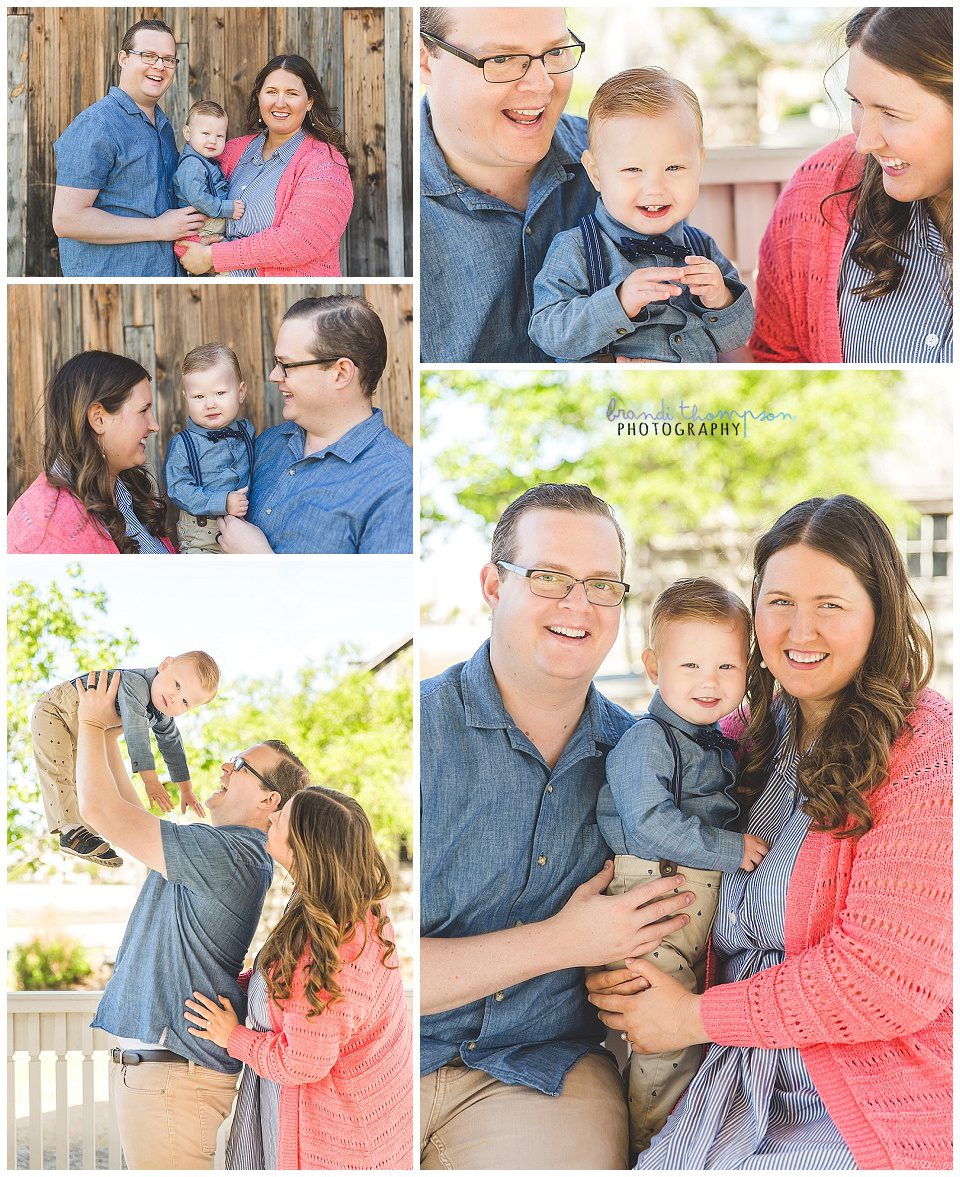outdoor family session with mom, dad and toddler, they are a white family, dressed with blue, khaki and mom is wearing a coral sweater
