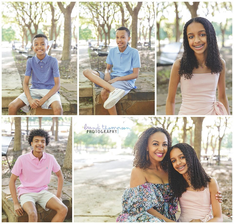 outdoor family session with family of four, kids age 10 - 16 and mom and dad