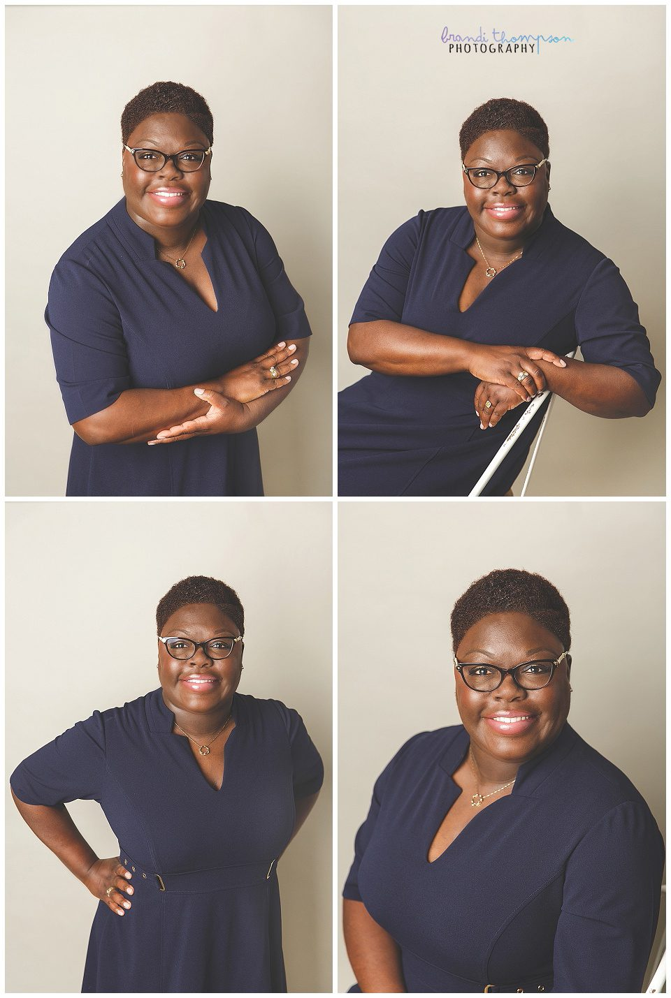 A collage of headshots of a Black woman with short hair in a navy dress against a light gray background