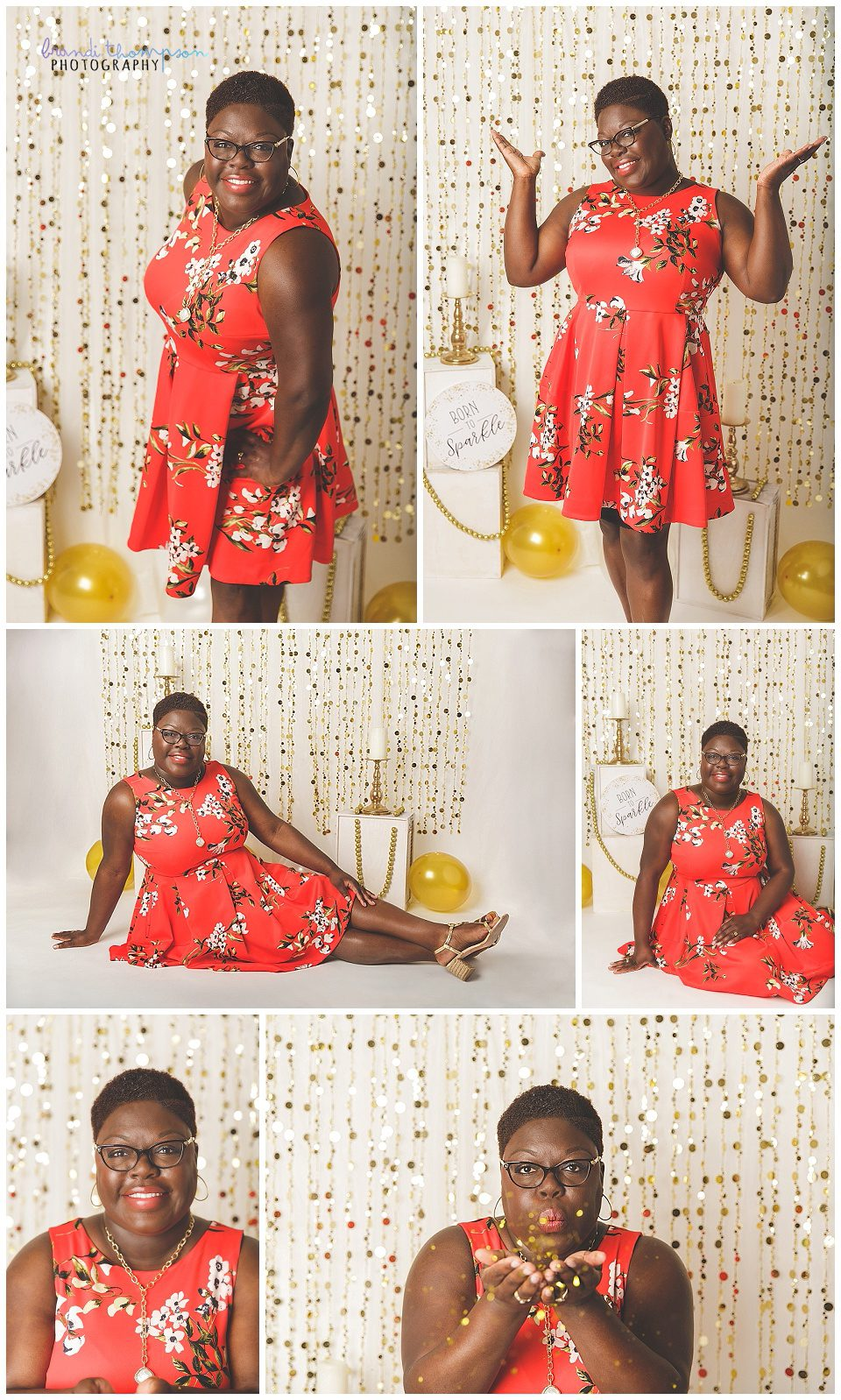 A photo collage with a Black woman with short hair wearing a dark orange floral dress, with a cream and gold background behind her. She's in a variety of poses.