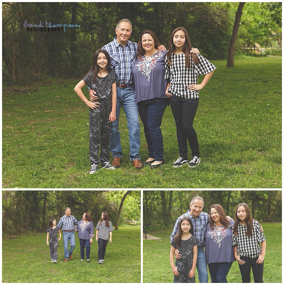 outdoor family photo session in a natural area with dad, mom and two tween/teen girls.