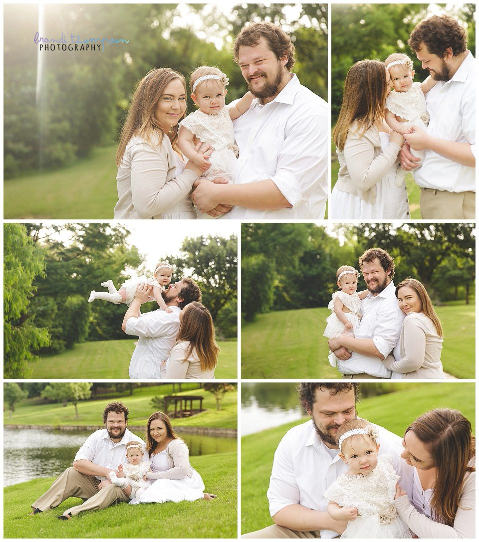 outdoor family photos with mom, dad and one year old girl in plano texas