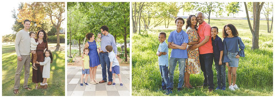 a collage of families in an outdoor setting