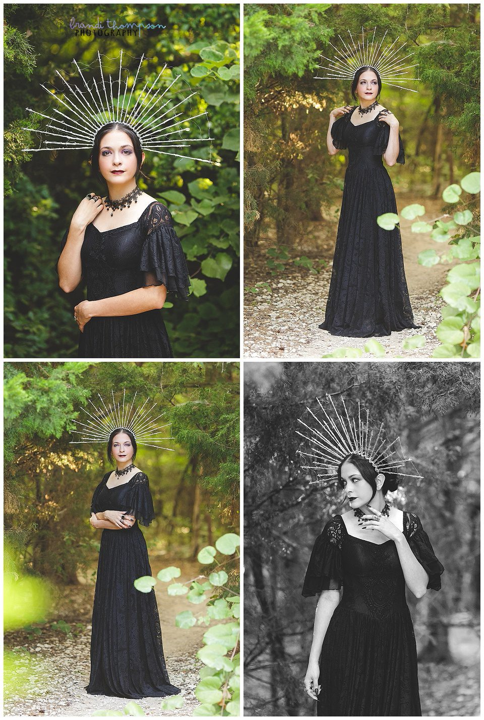 outdoor photos of 30th birthday session with a goth theme, a long, lacy black dress and silver starburst style crown