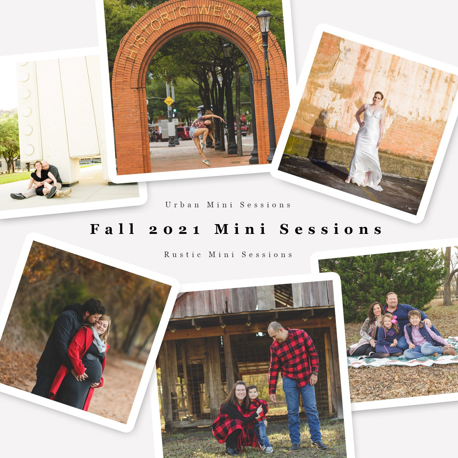advertising collage with six photos, three urban location in dallas, three rustic location in plano, text reads 'fall 2021 mini sessions'