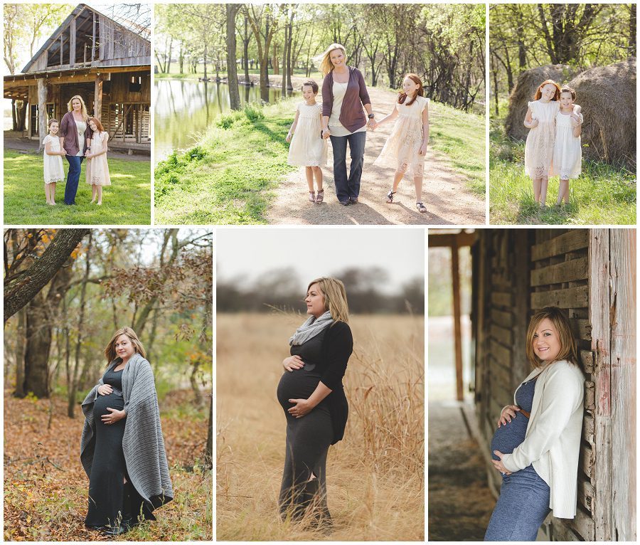 collage of rustic natural family photos in plano, tx